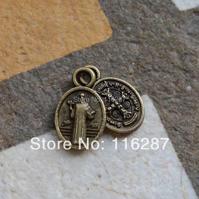 b3e8044fa45 50 pcs tiny antique bronze plated Catholic Religious gifts Saint St. Benedict  Medal charms holy Medals for bracelet Retro