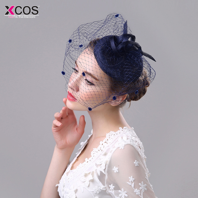 028dd618469c9 Free Shipping Navy Blue Black Birdcage Net Wedding Hats Bridal