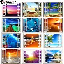 Dispaint Full Square/Round Drill 5D DIY Diamond Painting Window sea view 3D Embroidery Cross Stitch Home Decor Gift