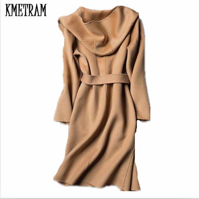 KMETRAM 2019 Autumn Winter Fashion Women Cashmere Coat 100% Wool Overcoat Casaco Feminino Inverno Slim Winter Jacket Women HH519
