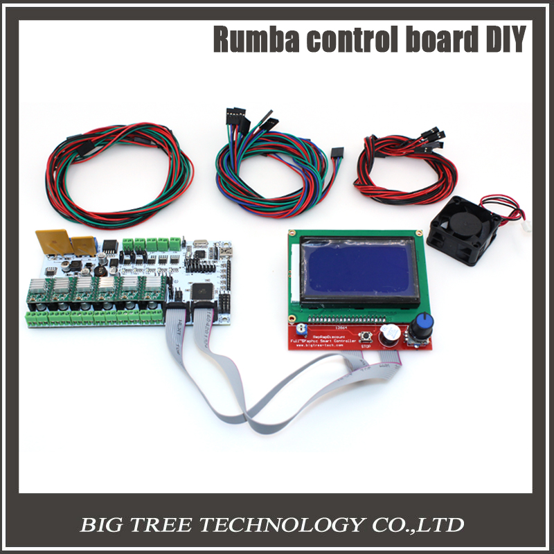 BIQU Rumba control board DIY+LCD 12864 controller display +jumper wire +A4988 Stepper motor driver for reprap 3D printer geeetech newest reprap 3d printer control board rumba usb cable best choice for diy fans