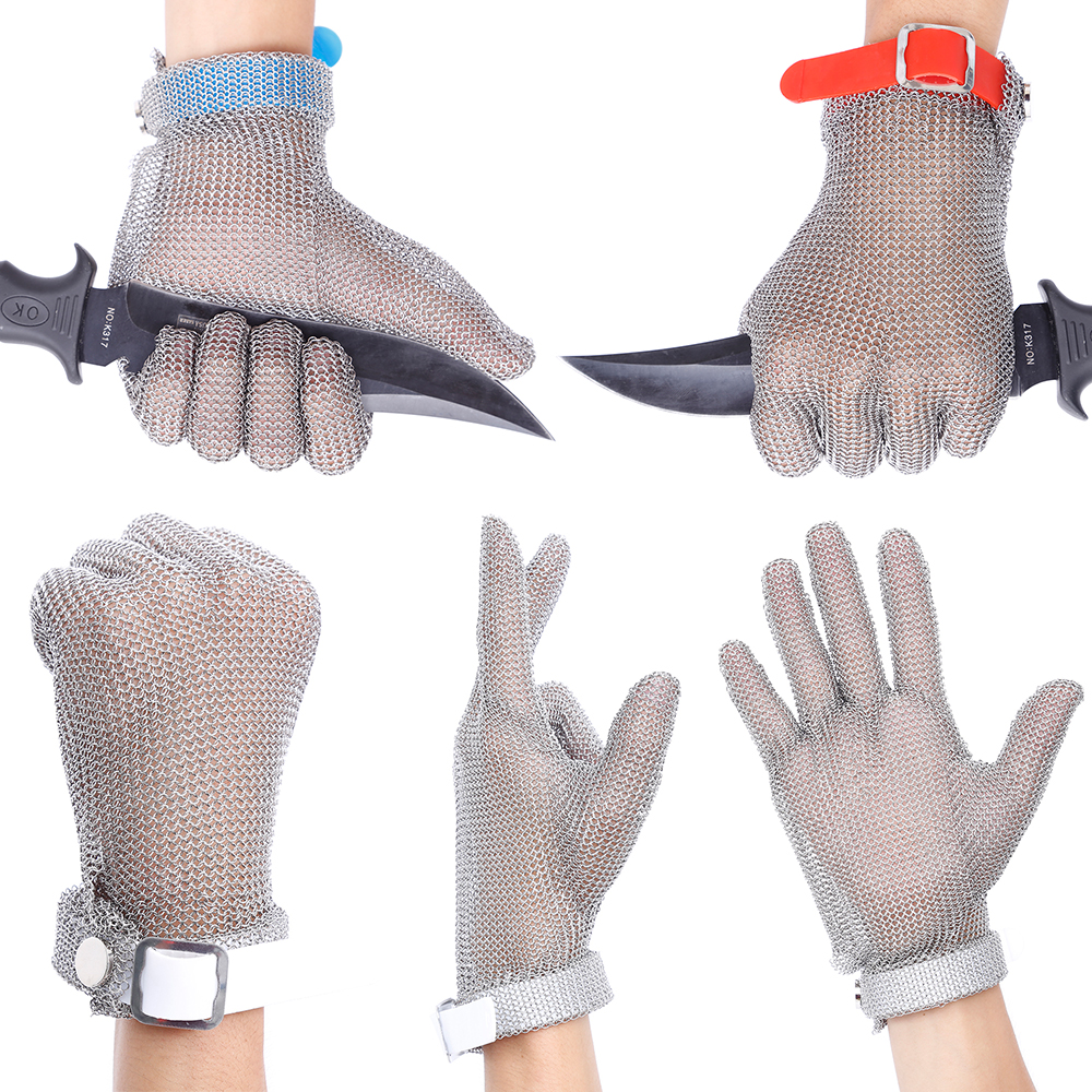 Metal Mesh Butcher Gloves Plastic Belt Stainless Steel Mesh Glove Cut Resistant Kitchen Chain Mail Protective