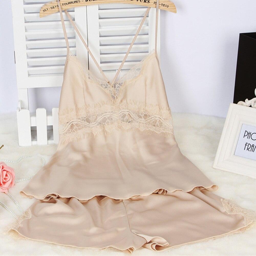 Womens Pajamas Lace Women Pajamas Set Clothing For Women Homewear Indoor Clothing Lady Satin Silk Pajamas