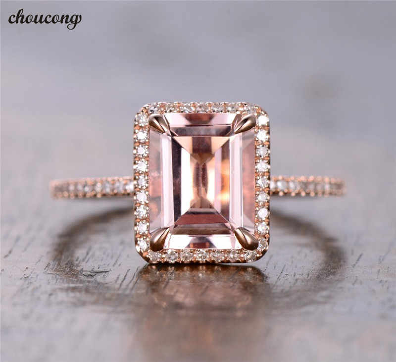 Choucong แฟชั่นเจ้าหญิงตัดแหวน Rose Gold Filled 2ct Zircon CZ วงแหวนนิ้วมือเครื่องประดับของขวัญ