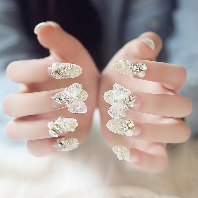 24 Pcs/set Crystal Bowknot False Finger Nails Tips Acrylic Pre ...