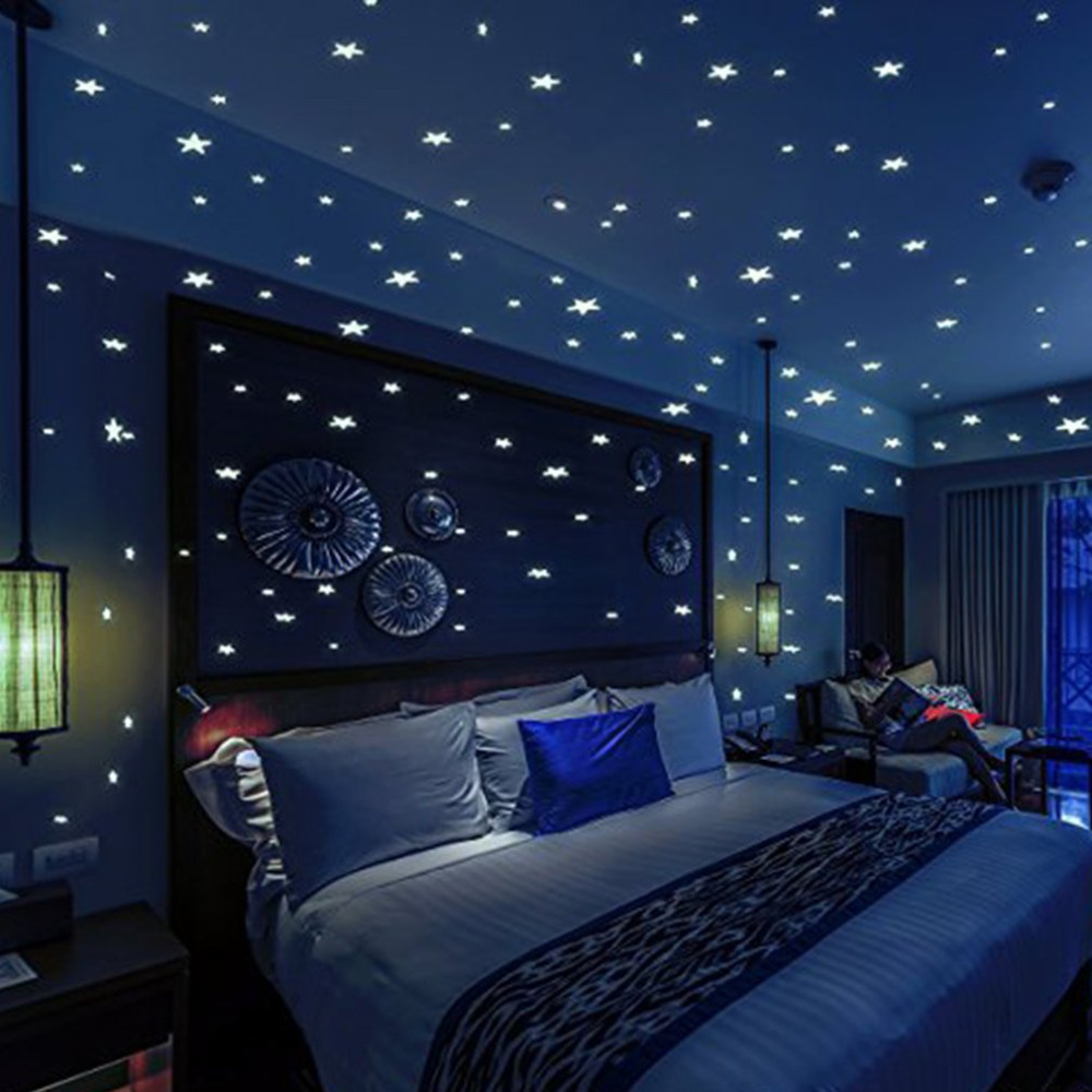 200pcs Glow Star Moon Wall Stickers For Kids Rooms Baby Bedroom Home Decor Super Bright Ceiling Luminous DIY