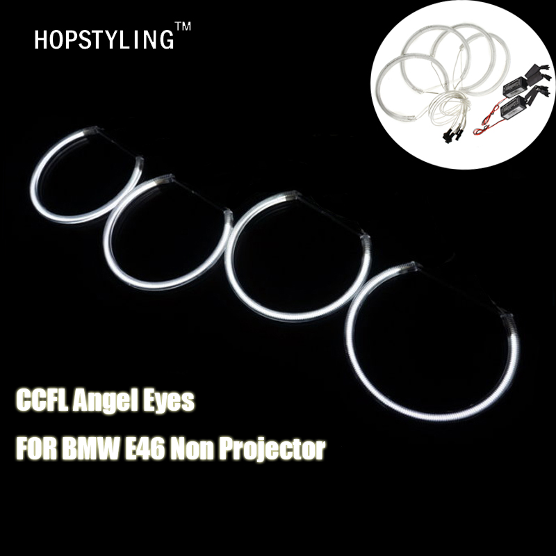 все цены на  High quality 7000K 4x CCFL Angel Eyes Kit Warm White Halo Ring 131mm+145mm For BMW E46 (Without Original Projector) LED Lighting  онлайн