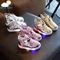 Nova moda infantil shoes com luz led respiro baby girl shoes chaussure criança infantil meninos sapato tornozelo asa colorido piscando
