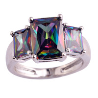Wholesale Art Deco Unisex Rings Emerald Cut Colorful Rainbow Topaz 925 Silver Fashion Party Jewelry Size 7 8 9 10 Free Shipping
