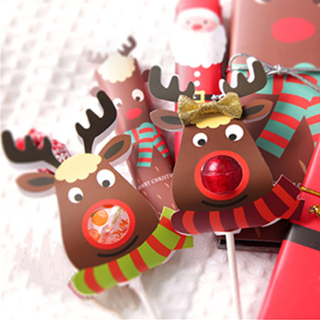 25Pcs Paper Lollipop Cover Elk Design Children Birthday Wedding Candy Decor Holiday Christmas Gift Packaging Box