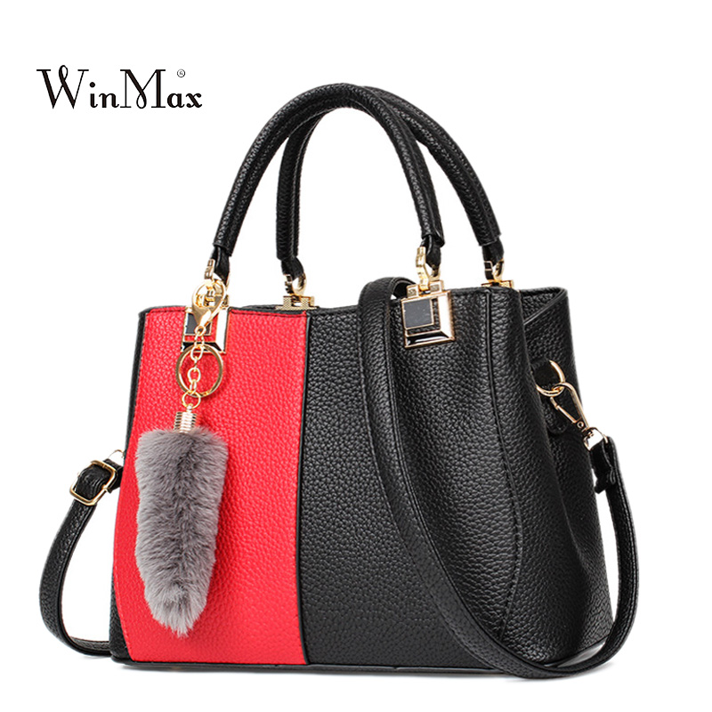 Women Hit Color Leather Handbags Patchwork Female Shoulder Bag High Quality Casual Tote Bags Handbag sac a main Luxury Hand Bags
