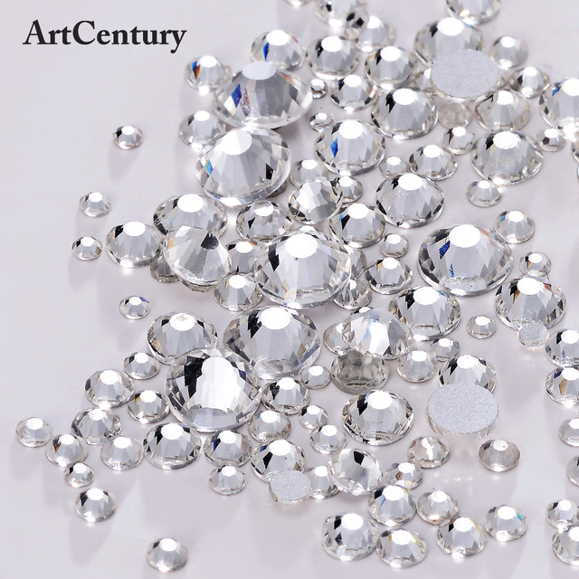 ArtCentury Crystal And Crystal AB All Sizes And Mix Glitter Rhinestones Non Hotfix Strass Rhinestones For Nails Art Decoration
