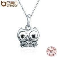 BAMOER Authentic 100% 925 Sterling Silver Animal Dễ Thương Owl Vòng Cổ Nữ Mặt Dây Chuyền Vòng Cổ Sterling Bạc Trang Sức SCC341