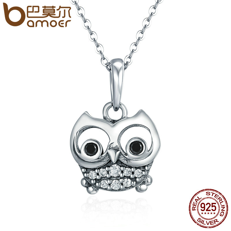 BAMOER Authentic 100 925 Sterling Silver Animal Cute Owl Necklace Women Pendant Necklace Sterling Silver Jewelry