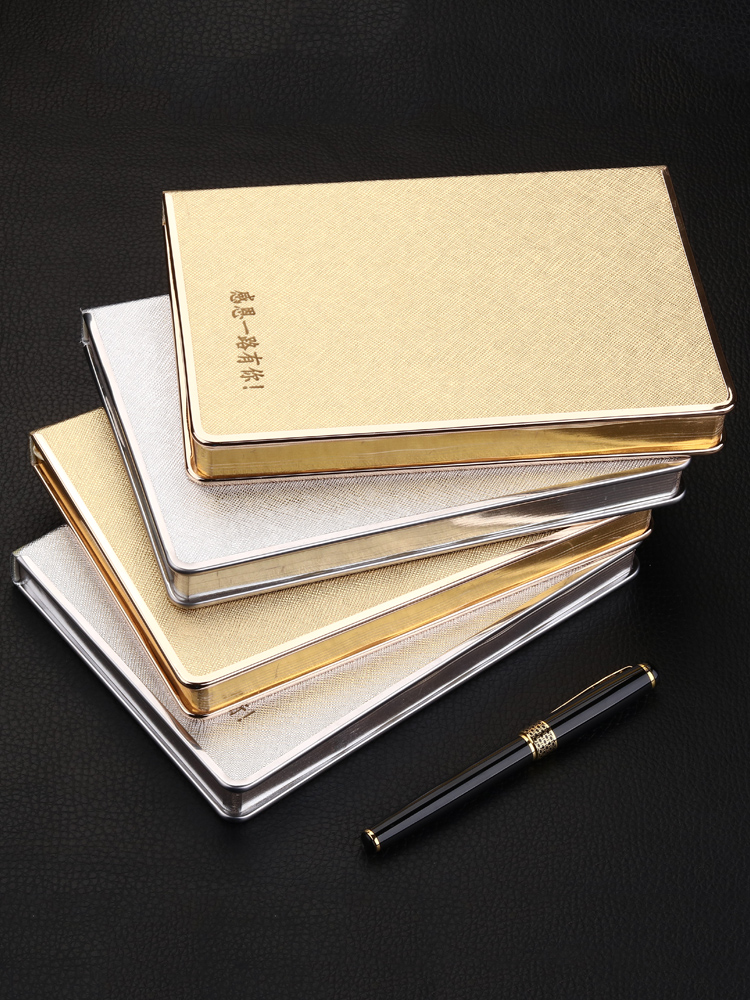 gold Notebook Personality Creativity Beautiful Students Office Meeting Record Book Work Manu A5 Notebook silver Thick Notebook