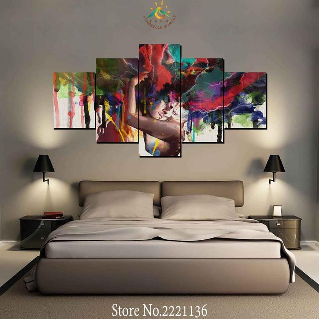 3 4 5 pieces hug love couple modern wall art canvas printed painting
