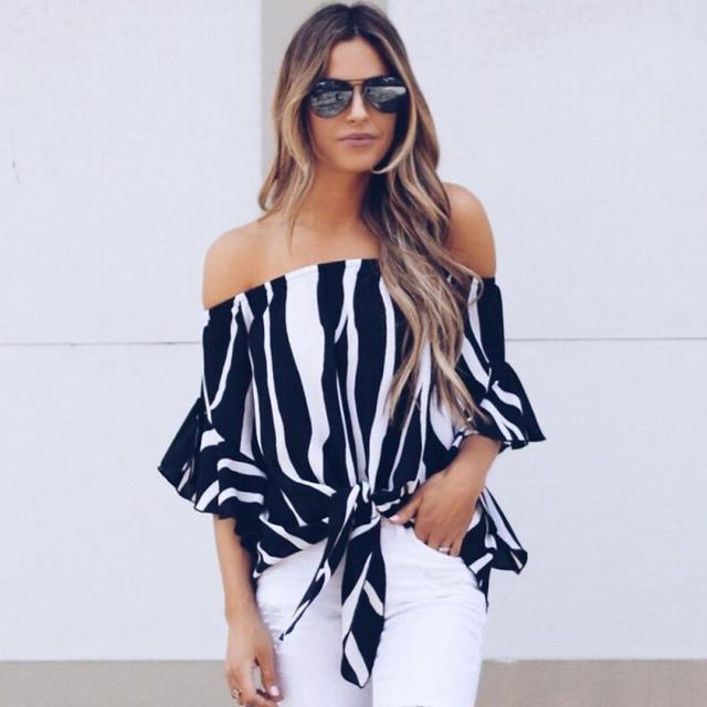003703daea4211 Women Summer Fashion Blouse Boat Collar Striped Print Chiffon Half Sleeves  Shirt Off Shoulder Tops Ladies Casual Shirt Female