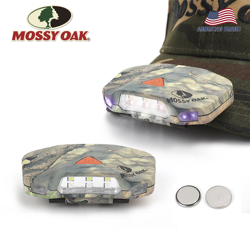 MOSSY OAK 2-pack LED Headlamp Cap Hat Light Clip-on Hat Light Hands Outdoor Hunting Camping Fishing Hiking Cycling Light