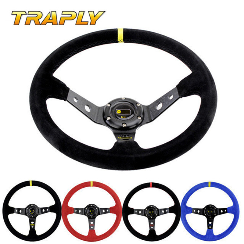 Traply 350MM Universal Suede Leather Racing Steering Wheel OMP Water Proof Slip Resistant Deep Corn Drifting