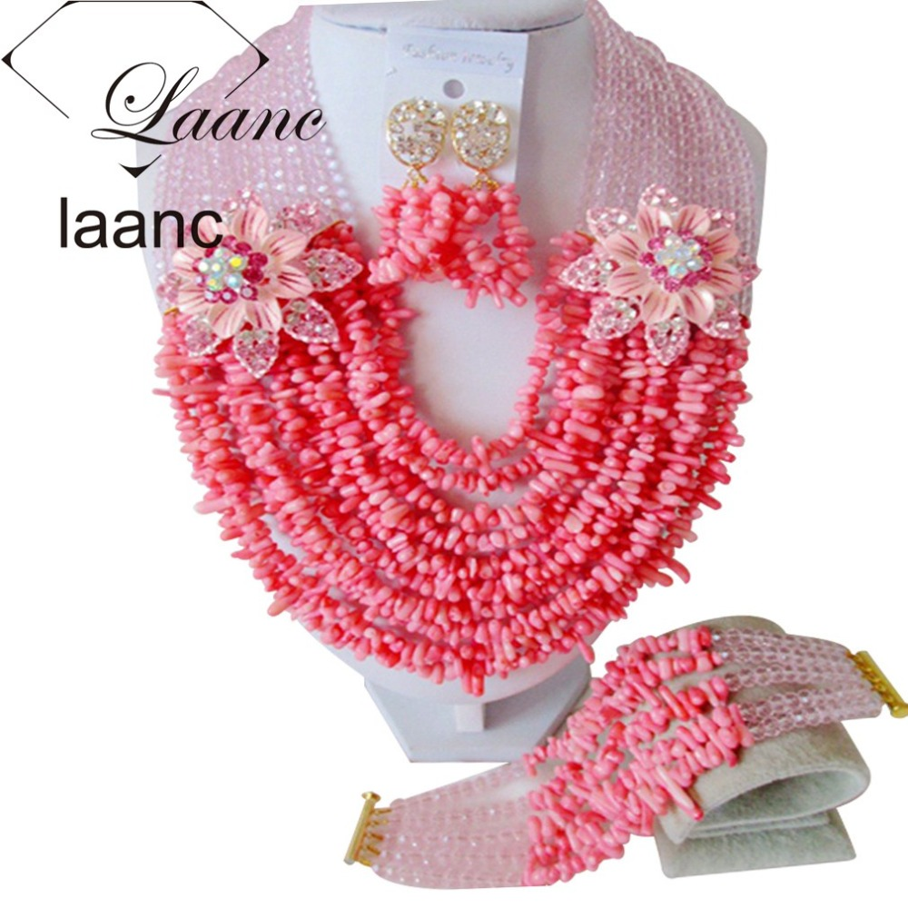Marvelous Baby Pink Crystal and Pink Coral Party Nigerian Wedding African Coral  Beads Jewelry Set Free Shipping CPS3792
