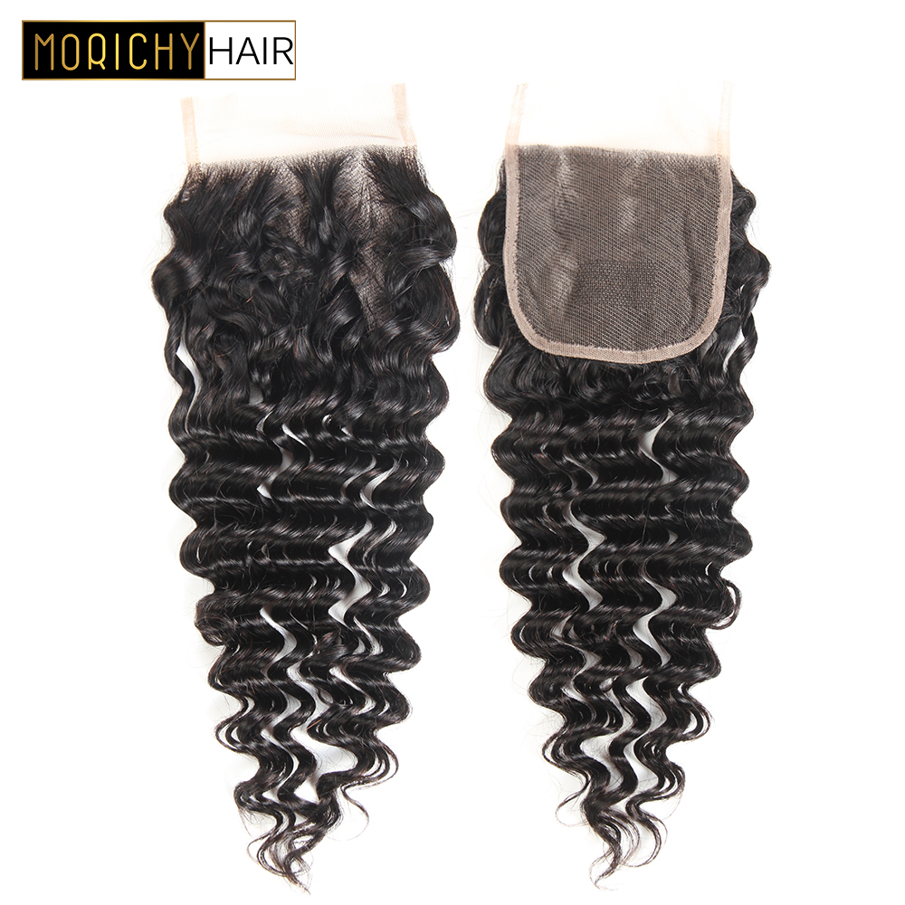 MORICHY Hair Deep Wave Closure Free Part Human Hair 4x4 Lace Closure 8-20 Inch Brazilian Deep Wave Remy Hair Closure 130%Density