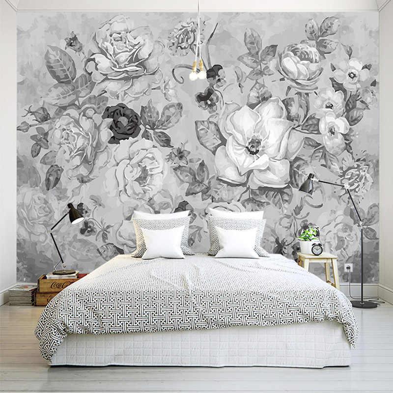 レトロ黒と白の花写真壁画壁紙 3D 寝室リビングルーム抽象アート壁布 Papel デ Parede 3D paisagem