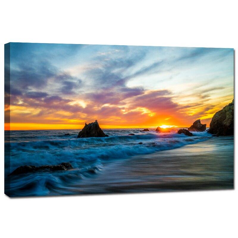 SUNRISE SEASCAPE BEACH CANVAS WALL ART PICTURE LARGE 75 X 50 CM