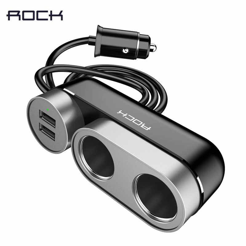 ROCK 2 USB Car Splitter Charger Car Cigarette Lighter Socket For iPhone/iPad/Samsung/Tablet Phone Charger 4.8A Car Charger