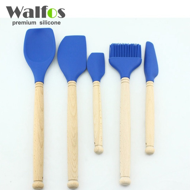 WALFOS 5PCS/Set Kitchen Tools Natural Beech Wood Handle Silicone Kitchen  Utensil Set Silicone Cooking