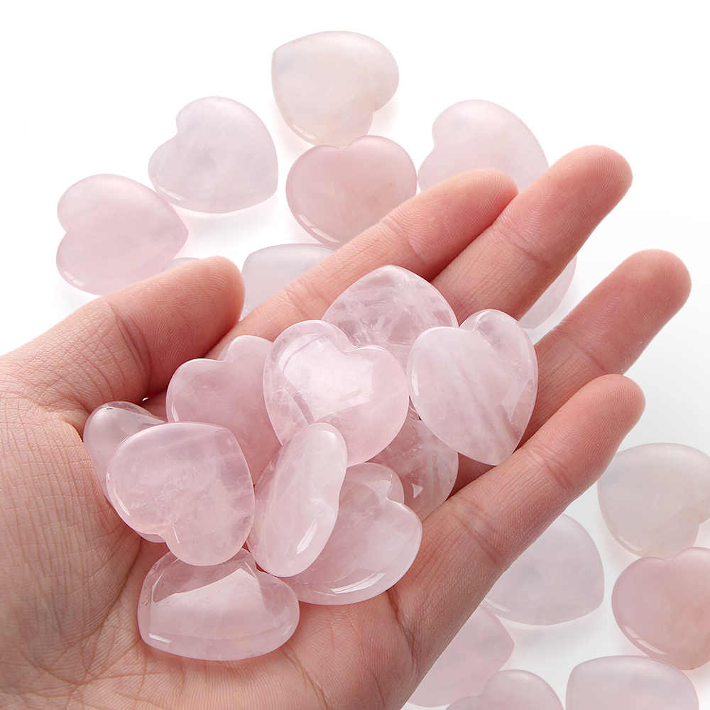 1/2PCS love Stone Crystal Heart-shaped Stone 25x25x7mm Natural Rose Quartz Gemstone Crystal Healing Chakra Reiki Craft Fun Toys