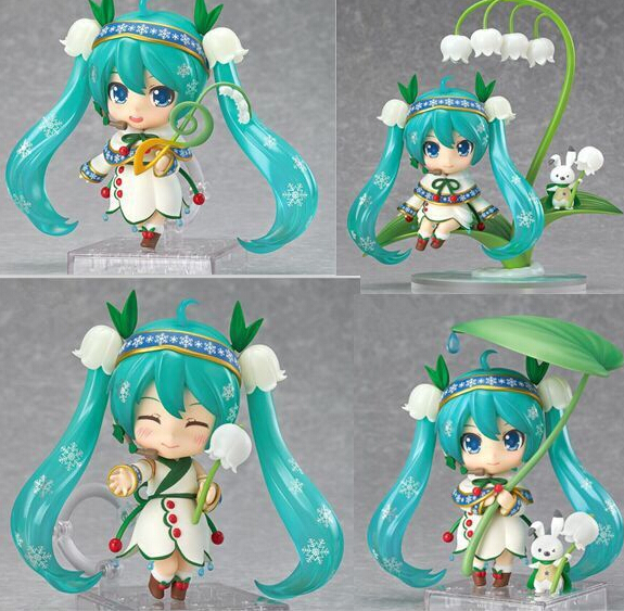ФОТО High quality 4pcs/set Anime Q version Magical style snow Hatsune Miku on lotus leaf action pvc figure toy tall 12cm in box.