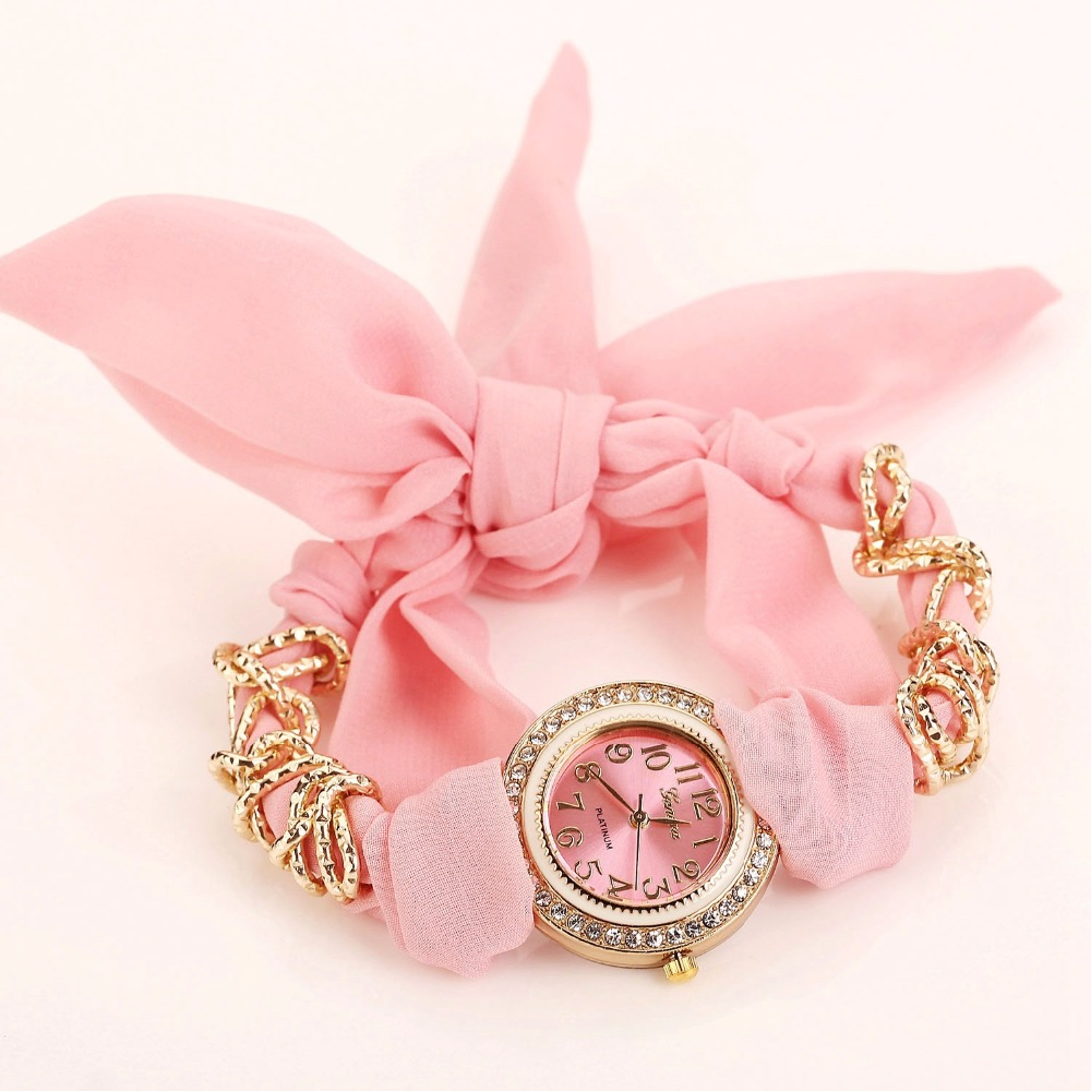 2017 Design Ladies flower cloth wristwatch fashion women dress watch high quality fabric watch sweet girls watch Montre Femme