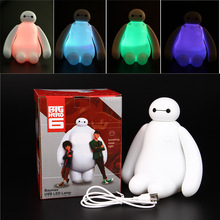 1PC Color Changing Big Hero 6 Baymax USB LED Table Light Creative Desk Lamp 16cm Cartoon Nightlight Kids Gift Home Decor 2015