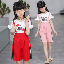 2019 Fashion Girls Sweet 2pcs Sets Flower Letter Print T-shirt + Rompers Suspender Suit Children Colthing Set 5 6 7 8 9 10 11 12 children set 2017 new style children s sports two piece suit girls clothing sets 5 6 7 8 9 10 11 12 years old female pullovers