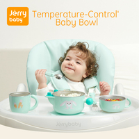 Jerrybaby Baby Feeding Bowl w/ Suction Plate Stainless Steel Non spill Dish Keep Warm Dinnerware Set Insulated Bowl Set W/ Spoon