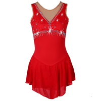 New Customized Competition Ice Skating Skirt red Rhinestone girls ice skating sexy sleeveless women Figure Skating Dress