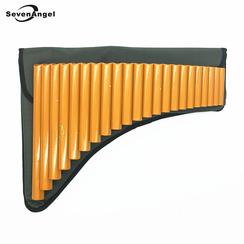 ФОТО Hot Selling 22 Pipes ABS plastic Panflute Key of G  Romania Musical Instruments Flute Orange color PanPipes Free shipping