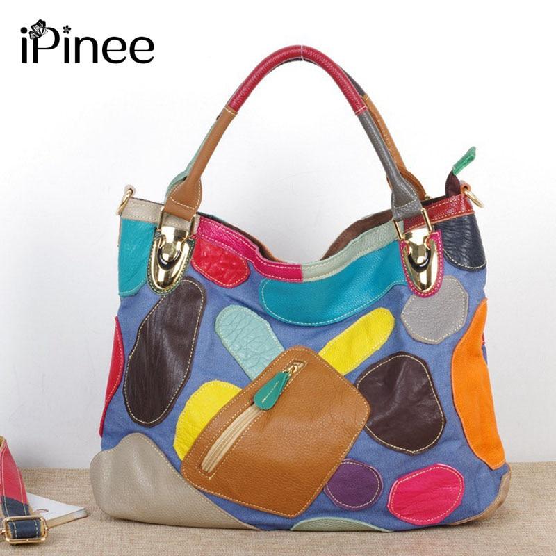 iPinee New Fashion Ladies Hand Bag Women's Genuine Leather Handbag Cowhide Tote Bag Bolsas femininas Female Shoulder Bag стоимость