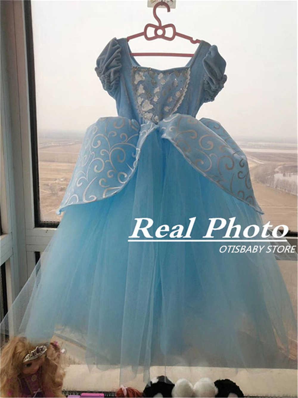 ... Girls Blue Ball Gown New Movie Princess Cinderella Cosplay Costume  Fairy Tail Children Wedding Party Elegant ... ef48f5f78ffb