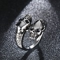 Vnox Skull Ring Punk Biker Stainless Steel Metal Men Jewelry