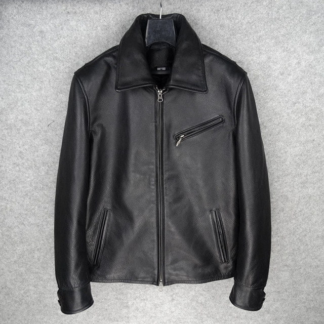 2017 Men Black Casual Genuine Leather Jacket High Quality Real Thick Cowhide Plus Size XXXL Slim Fit Leather Coat FREE SHIPPING