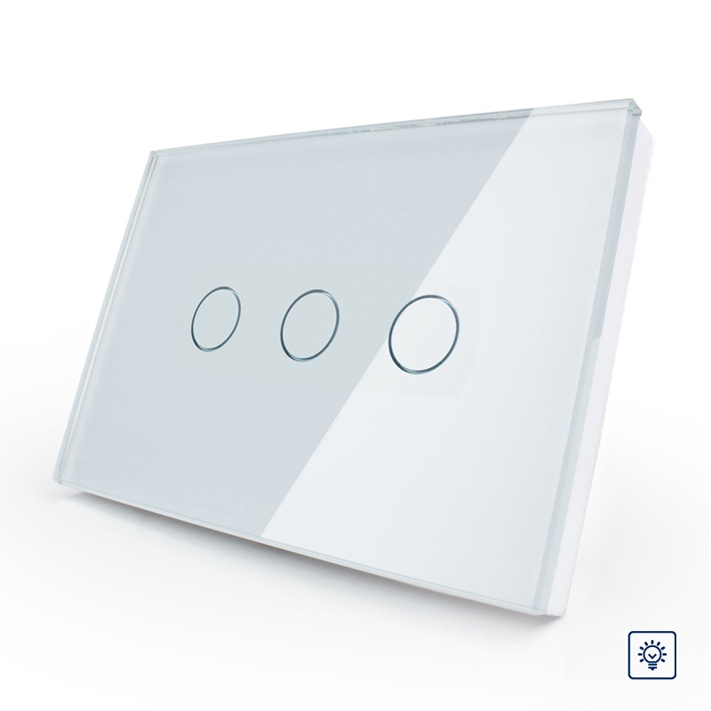 2017 Ivory White Crystal Glass Panel, US/AU standard OS-003D-81,Digital Wall Switch, Dimmer Control Home Wall Light Switch smart home us au wall touch switch white crystal glass panel 1 gang 1 way power light wall touch switch used for led waterproof