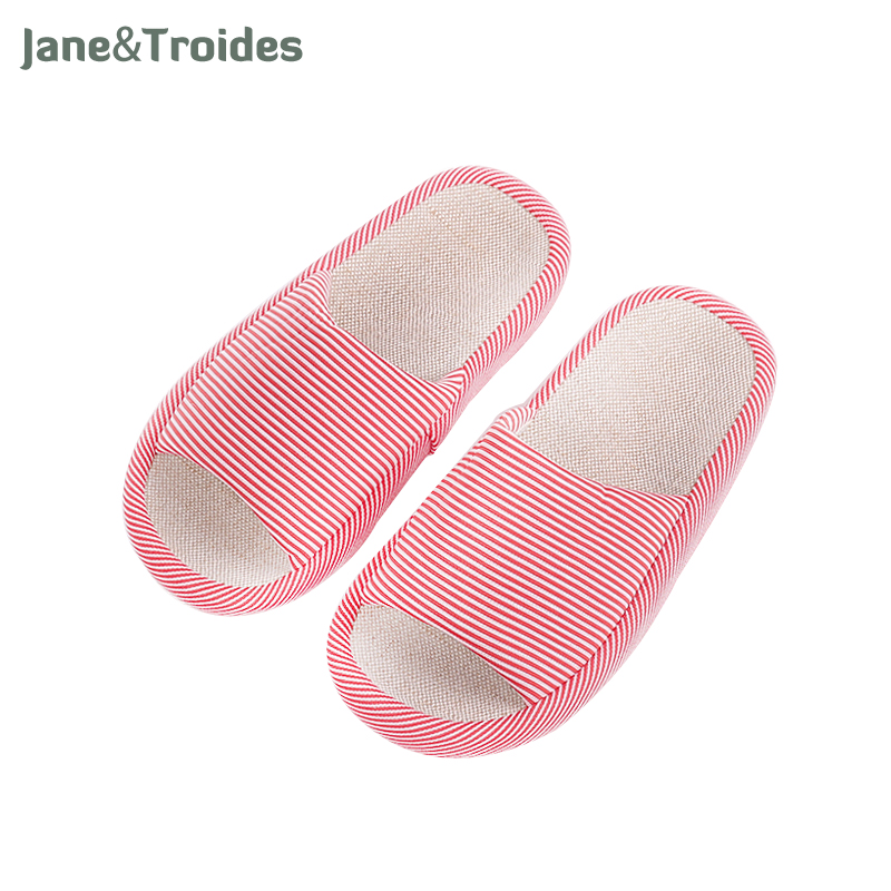 Spring Autumn Home Women Slippers Open Toe Linen Anti Slip Striped Flip Flops Casual Indoor Outdoor Sandals Fashion Woman Shoes wholesale 5 woman foam open toe backless flip flops shoes slippers 1 pair