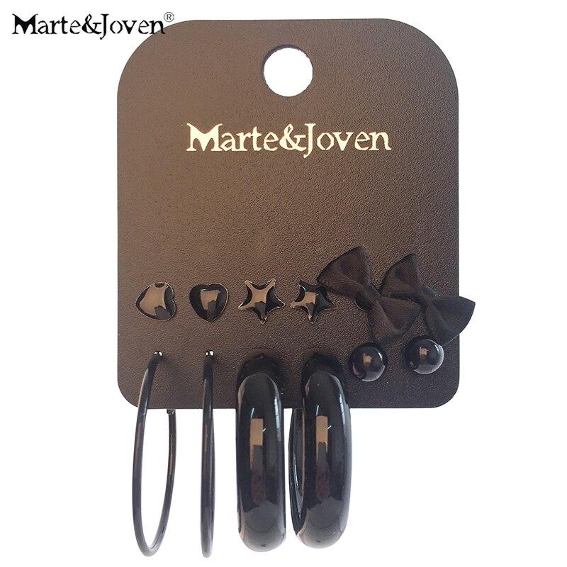 Marte & Joven 6 Pairs Mehrere Große Kreis Ohrring Klassischen Schwarzen Stern/Herz/Bowknot Ohrstecker Set für frauen Mädchen Geburtstagsgeschenke
