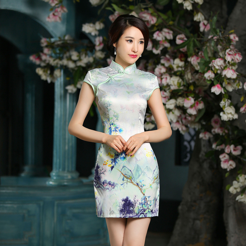 New Fashion Silk Short Cheongsams Qipao Plus Size Sex -9201