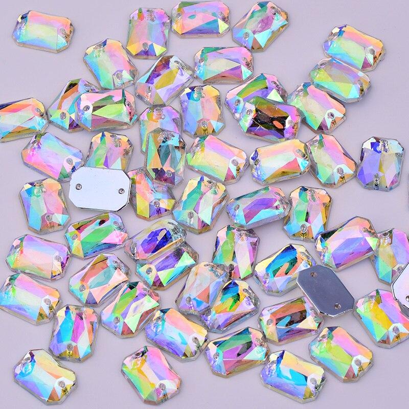 JUNAO 100pcs 18 25mm Big Sewing Crystal AB Rhinestones Applique Large  Rectangle Acrylic Crystal Stones Flatback Gems for Clothes e28c08fa6b5c