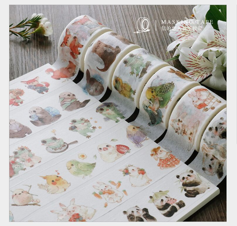 Lovely Animal Fox Panda Frog Rabbit Bird Mushroom Autumn Leaves Fruit Washi Tape DIY Planner Scrapbooking Masking Tape Escolar