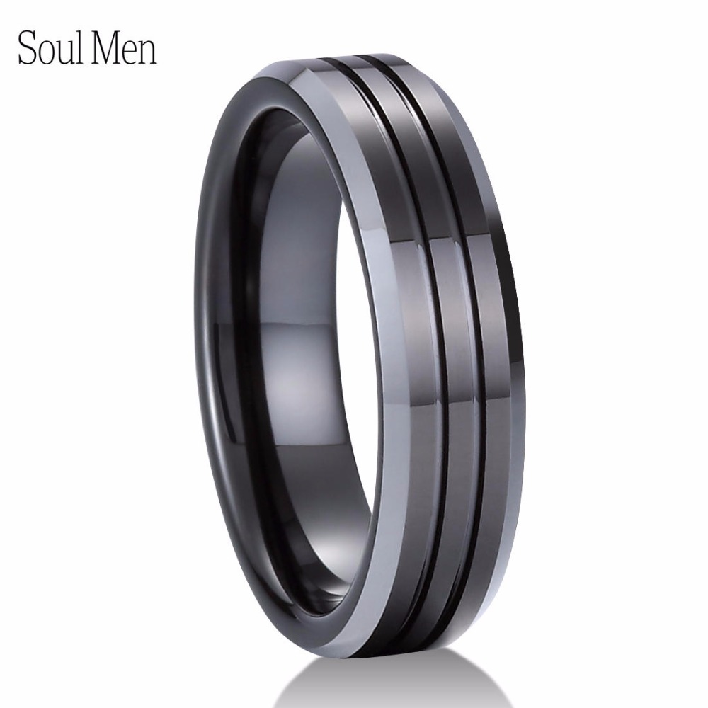 Male Classic Wedding Band 6mm Black Tungsten Carbide