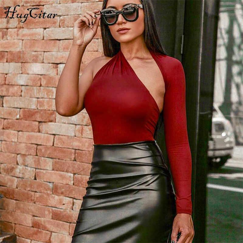 Hugcitar с одним рукавом сексуальный однотонный комбинезон 2018 осень зима Женская мода Холтер bodycon Эластичный боди