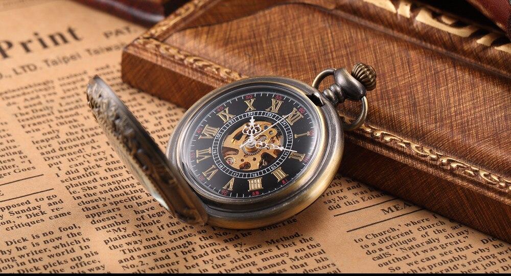 Steampunk Mechanical Pocket Watch Men Retro Pendant Watch Chain Vintage Necklace Mechanical Hand Wind Clock Pocket Watch Gifts 4